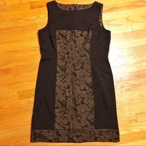 Tahari Colorblock Black and Print Sheath Dress